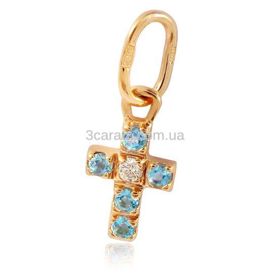 Золотая подвеска «Крестик с топазами»