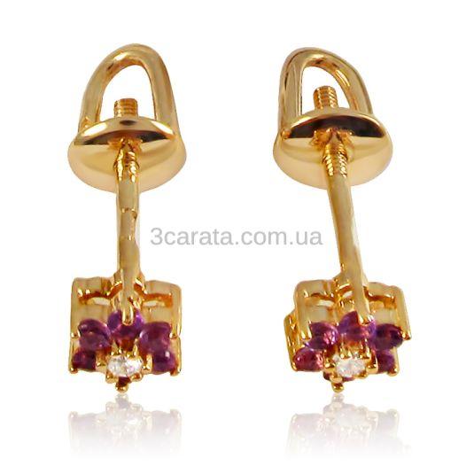 Золотые серьги-пусеты с аметистом и бриллиантами «Flowers»