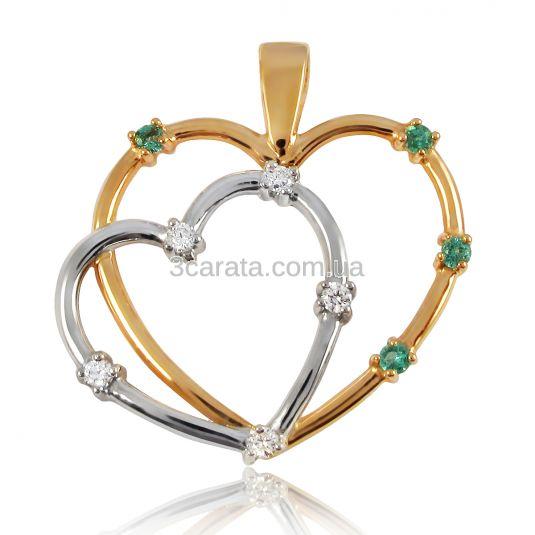 Золотой кулон с изумрудами и бриллиантами «Два сердца»