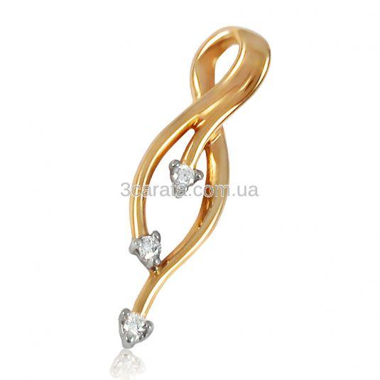 Золотая бриллиантовая подвеска «Ручеек»