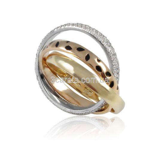 Золотое тройное свадебное кольцо «Тринити»