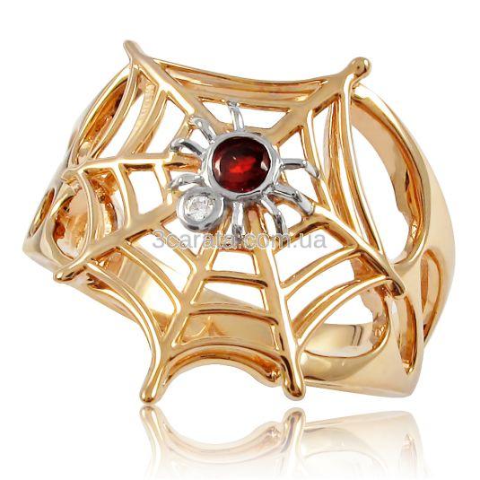 Золотое кольцо с гранатом «Паучок»
