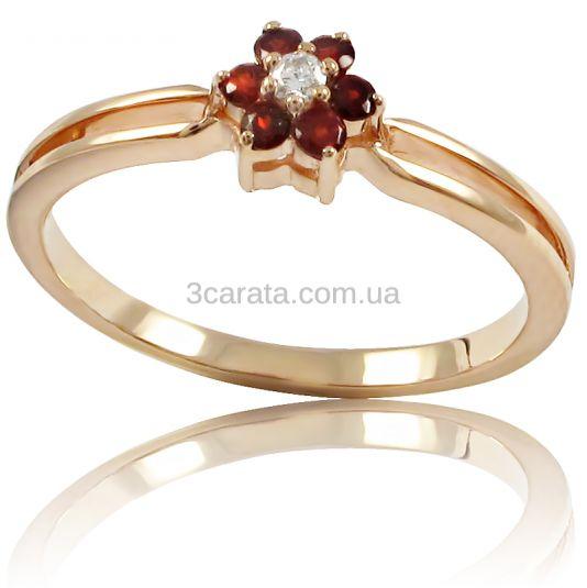 Золотое кольцо с гранатом  «Моника»