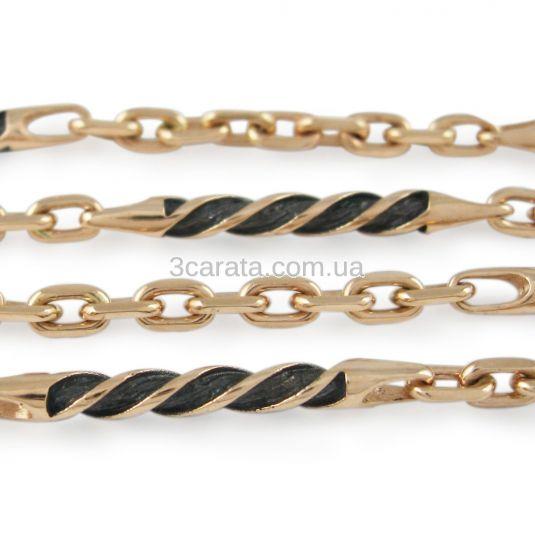 Золотая мужская цепочка с черной эмалью «Бертольд»