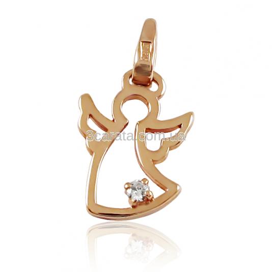 Золотой кулон c цирконием «Ангел»