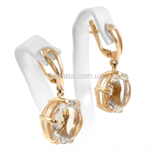 Золотые серьги с горным хрусталем «Хрустальное чудо»