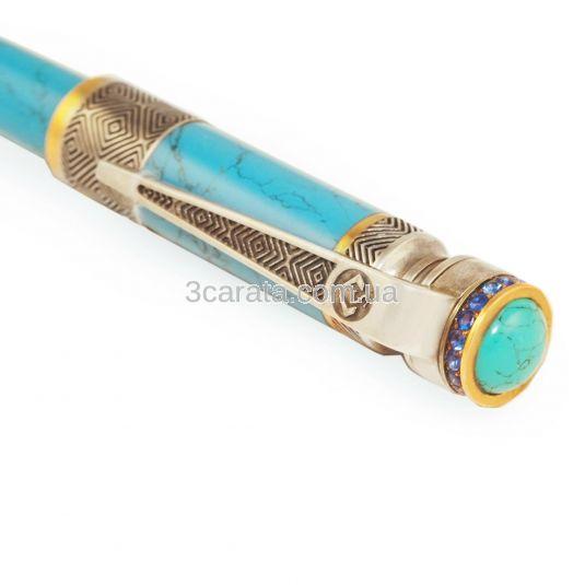 Серебряная ручка на бирюзе с позолотой «Cor Leonis»
