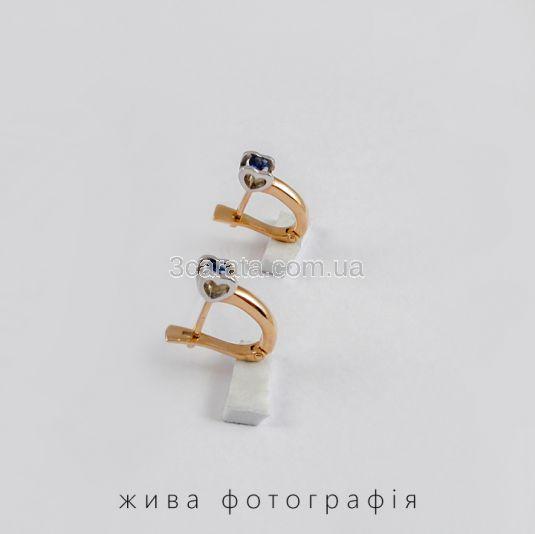 Золотые сережки с сапфирами «Поцелуй»