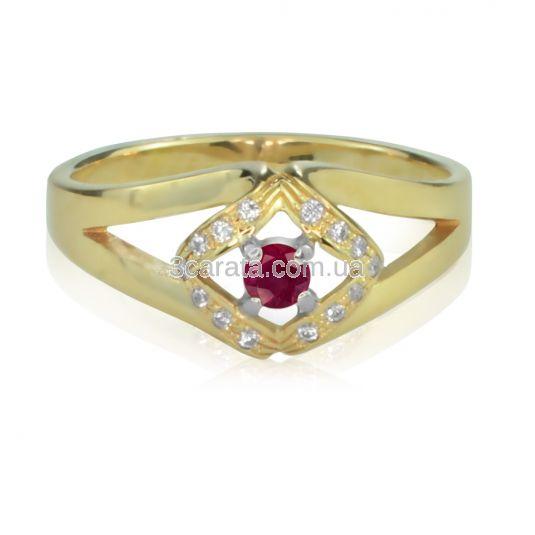 Золотое кольцо с рубином и Сваровски «Golden eye»