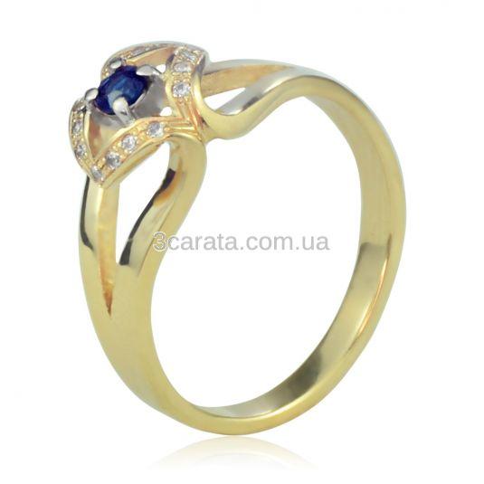 Золотое кольцо с сапфиром и Сваровски «Golden eye»