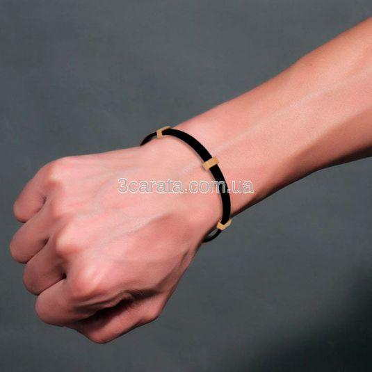 Мужской браслет из каучука с золотом «Masculinity»