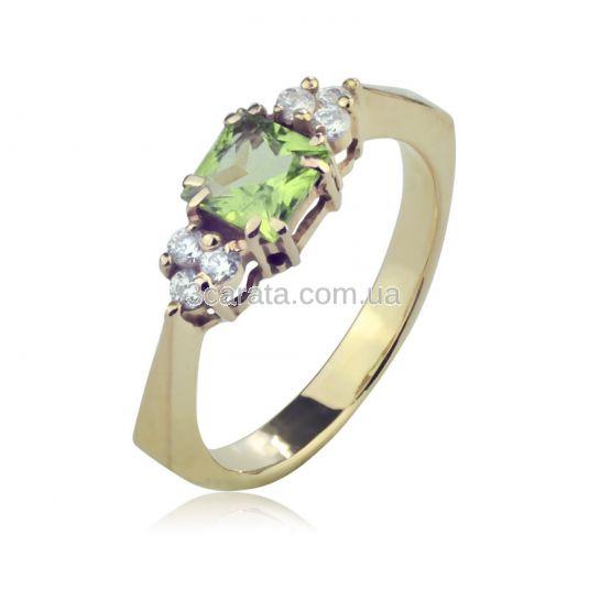 Кольцо с квадратным хризолитом «Дороги любви 2»