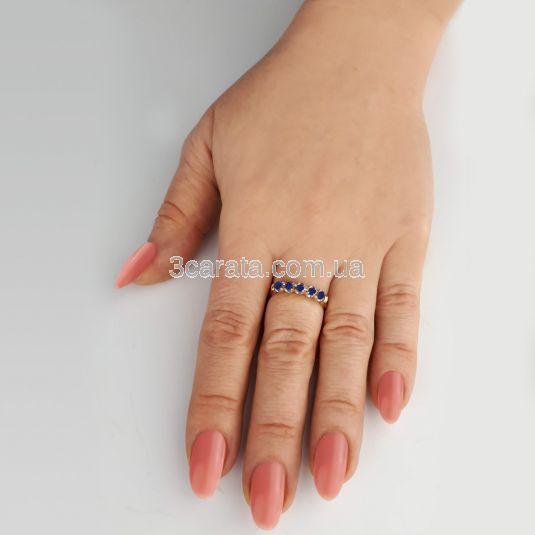 Золотое кольцо с дорожкой гидросапфиров «Sunny»