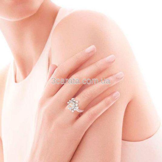 Золотое кольцо с морганитом и Сваровски «Starry sky»