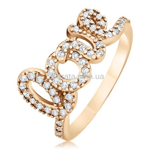 Кольцо со словом «Love» с цветным цирконием