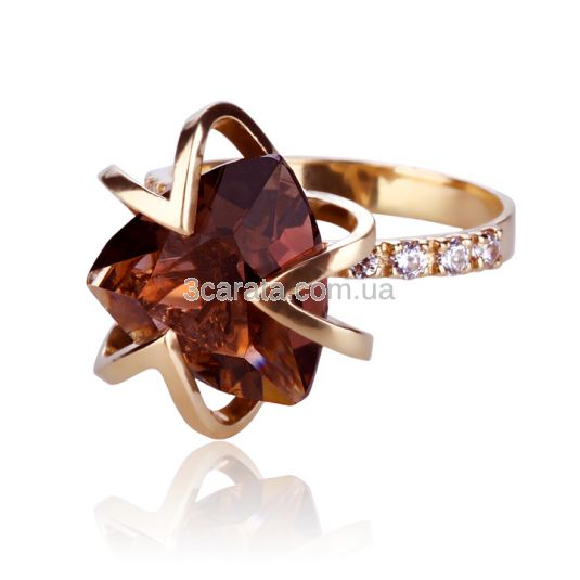 Женское кольцо с раухкварцем и камнями Сваровски «Магия тайны»