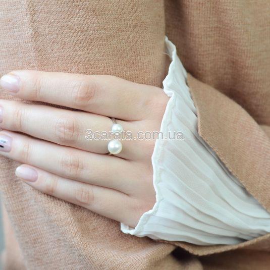 Несомкнутое кольцо с двумя жемчужинами «Зарина»