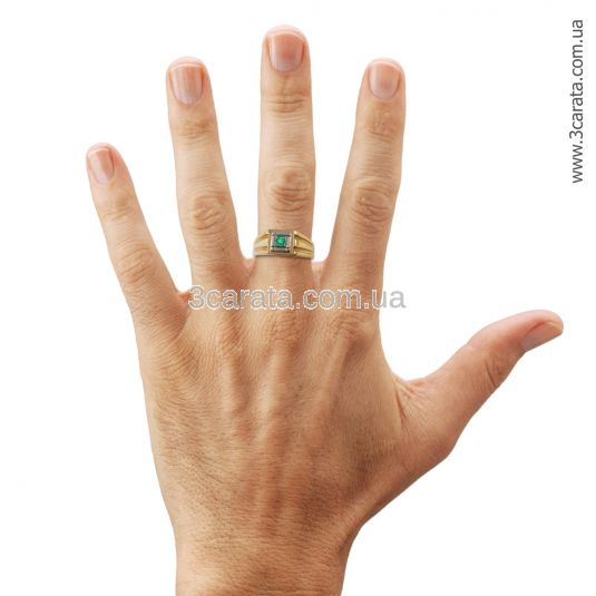 Перстень мужской с изумрудом «Леонардо»