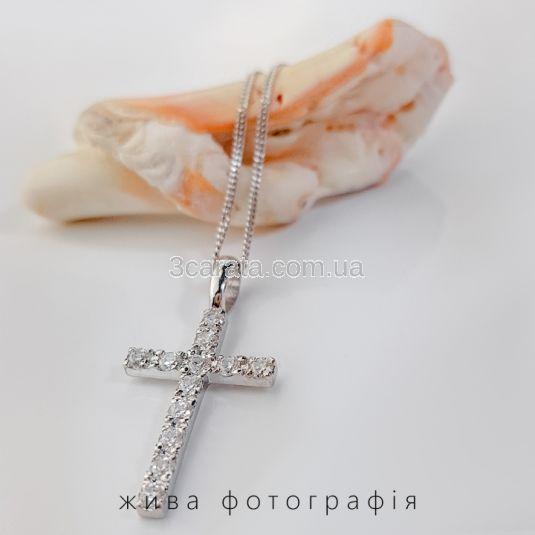 Кулон крестик среднего размера с бриллиантами 0,72 Ct