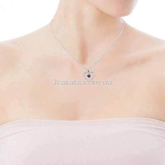 Золотой кулон-сердце с фиолетовым камнем «Love heart»