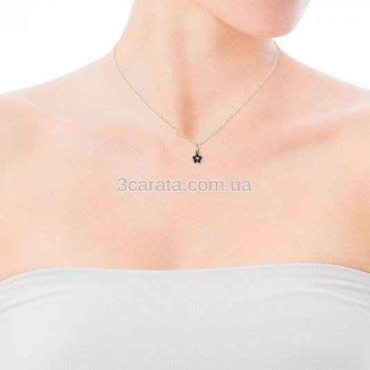Золотой кулон цветок с бриллиантом и сапфирами «Моника»
