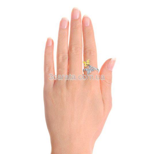 Кольцо с белыми и желтыми бриллиантами «Farfalla»