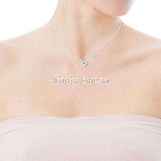 Золотой женский кулон с бриллиантом «Роза»