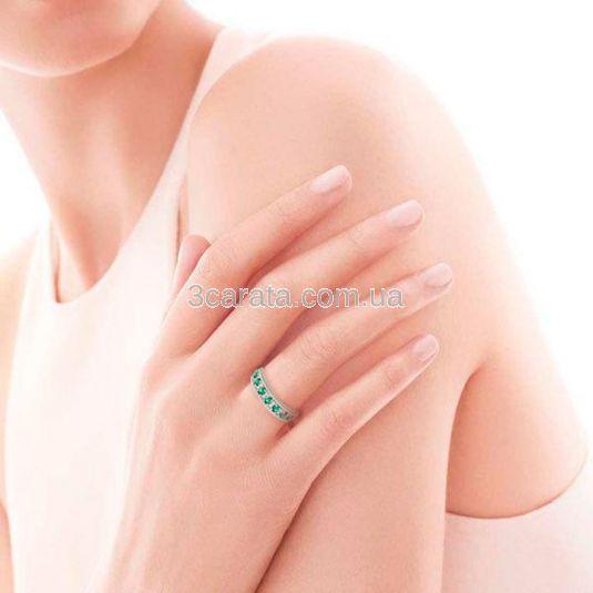 Обручальное кольцо с дорожкой изумрудов и Сваровски «Монако»