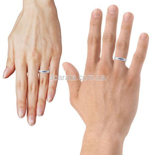 Обручальное кольцо с дорожкой сапфиров «Road to love»
