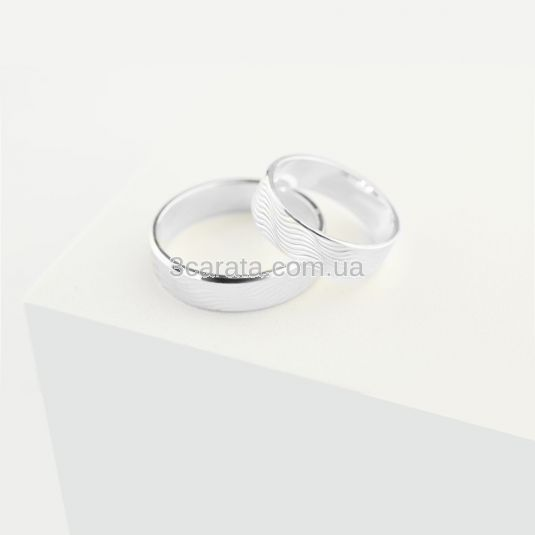 Обручальное кольцо с 3-D гравировкой «Waves»