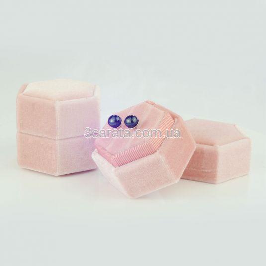 Бархатная шестигранная коробочка для обручалок или сережек «Velvet»
