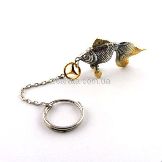 Брелок из серебра «Золотая рыбка»