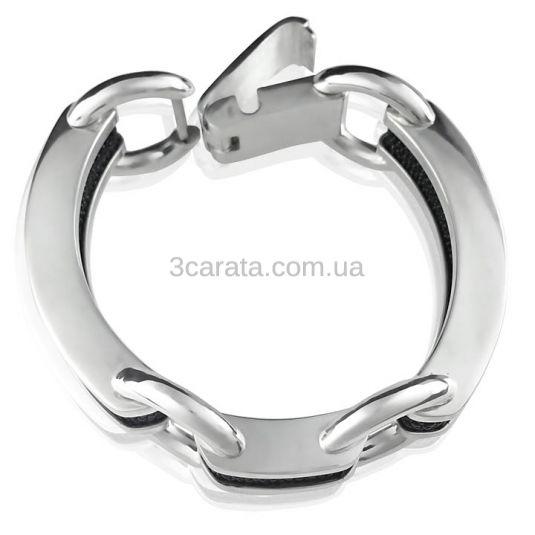 Серебряный женский браслет з кожей ската «Амфора»