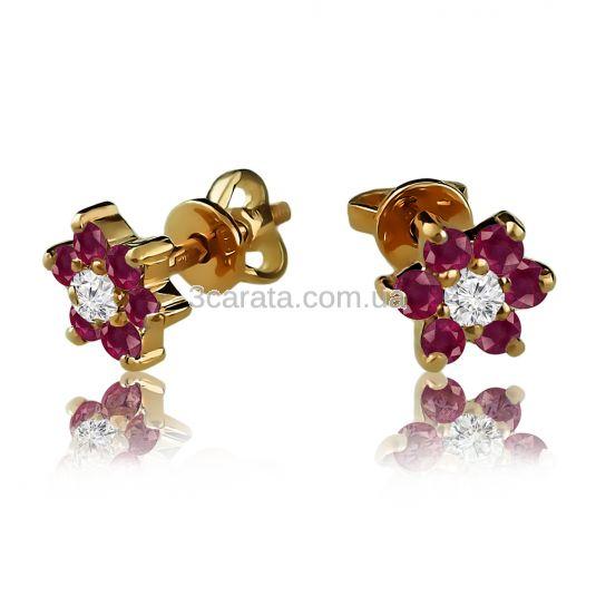 Золотые серьги гвоздики с рубином и Swarovski «Ромашка»