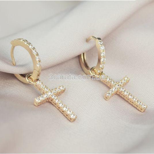 Золотые серьги кресты с камнями Swarovski «Fancy»