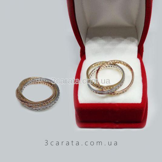 Тройное обручальное кольцо с цирконием «Тринити»