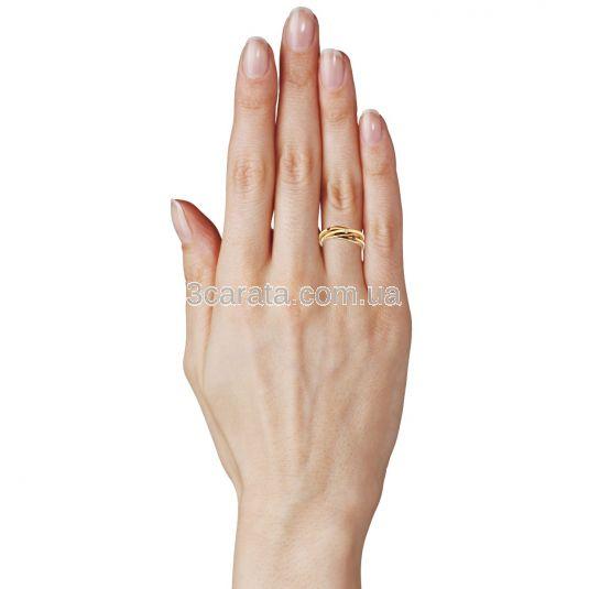 Золотое тройное кольцо с самоцветами «Тринити»