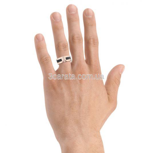 Мужской золотой  перстень с кожей «Доблестный рыцарь»
