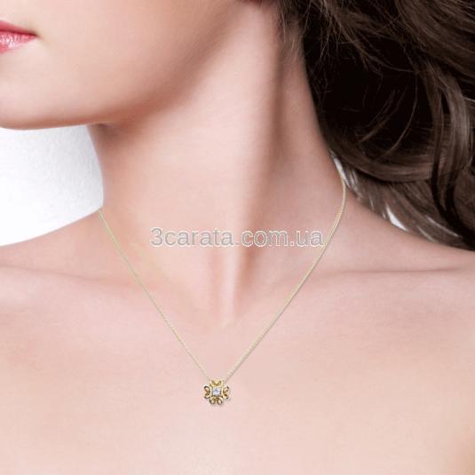 Золотая подвеска с бриллиантом «Luxe»