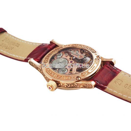 Золотые часы с красным цирконием «Lady Skeleton»