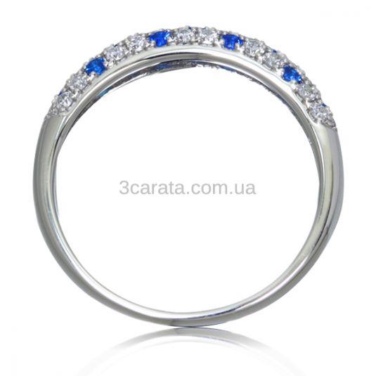 Золотое кольцо с сапфирами и россыпью бриллиантов «Monpasie»