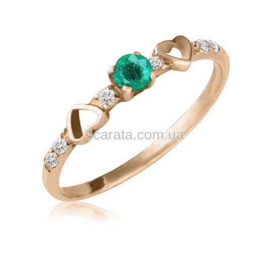 Кольцо с золотым сердечком и изумрудом «Верность»