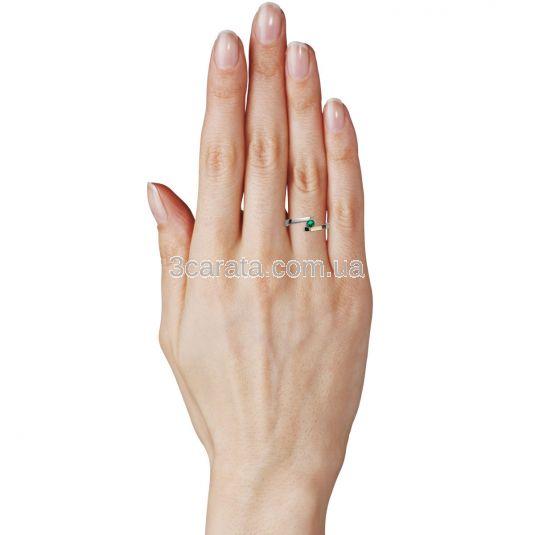 Золотое кольцо для помолвки с гидротермальным  изумрудом 3 мм «Аннет»