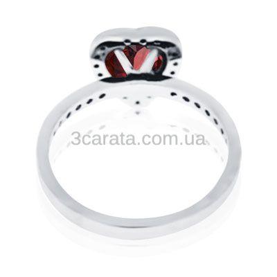Золотое бриллиантовое кольцо «Гранатовое сердце»