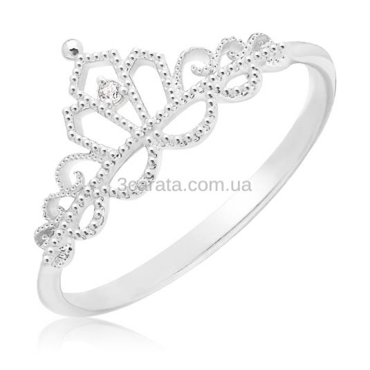 Кольцо корона с фианитом «Золотая диадема»