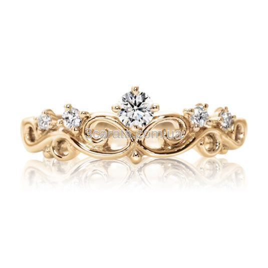 Золотое ажурное кольцо с цирконием «Корона»