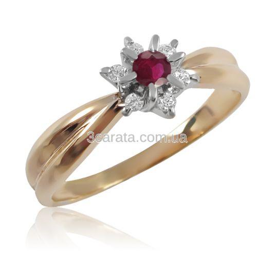 Золотое кольцо с рубином и бриллиантами «Франсуаза»