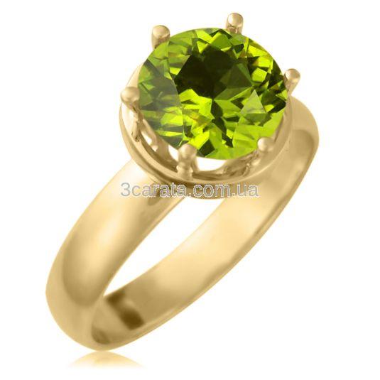 Золотое кольцо на помолвку с хризолитом 2,3 Ct «Дамиано»
