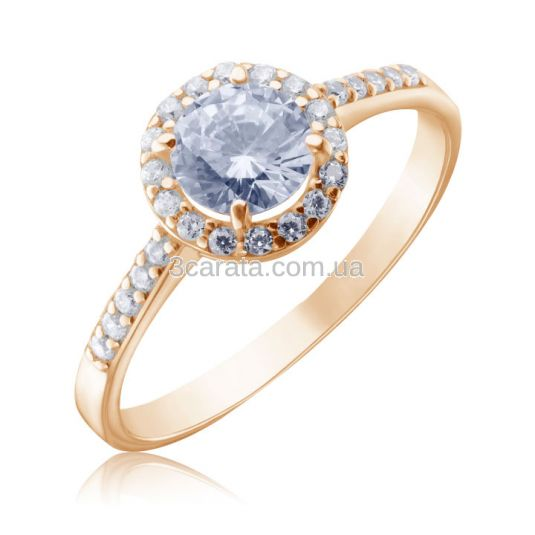 Золотое кольцо с большим камнем «Алеся»