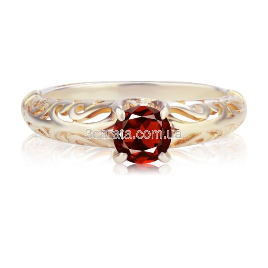 Ажурное золотое кольцо с гранатом «Vintage»